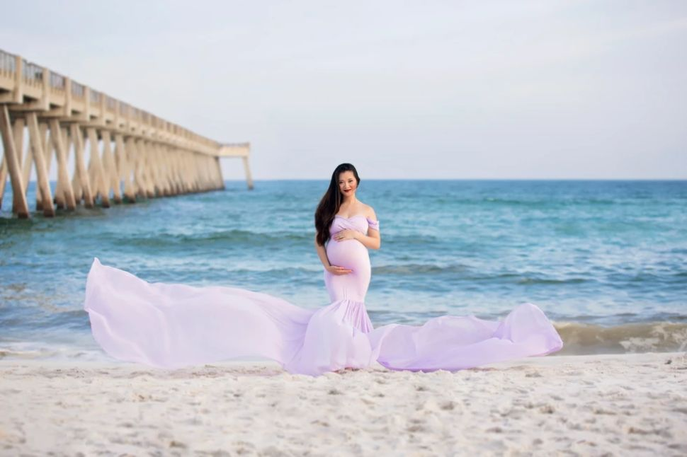 maternity pictures maternity gown beach